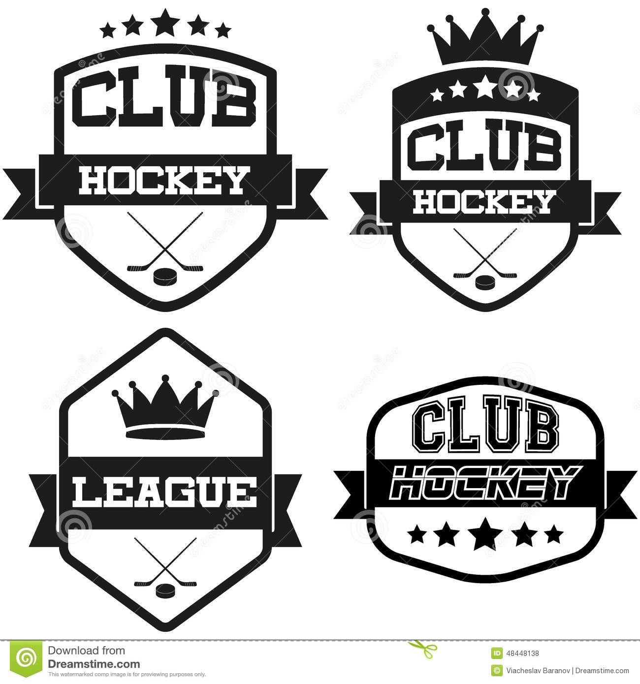 Set Of Vintage Ice Hockey Club Badge And Label Stock