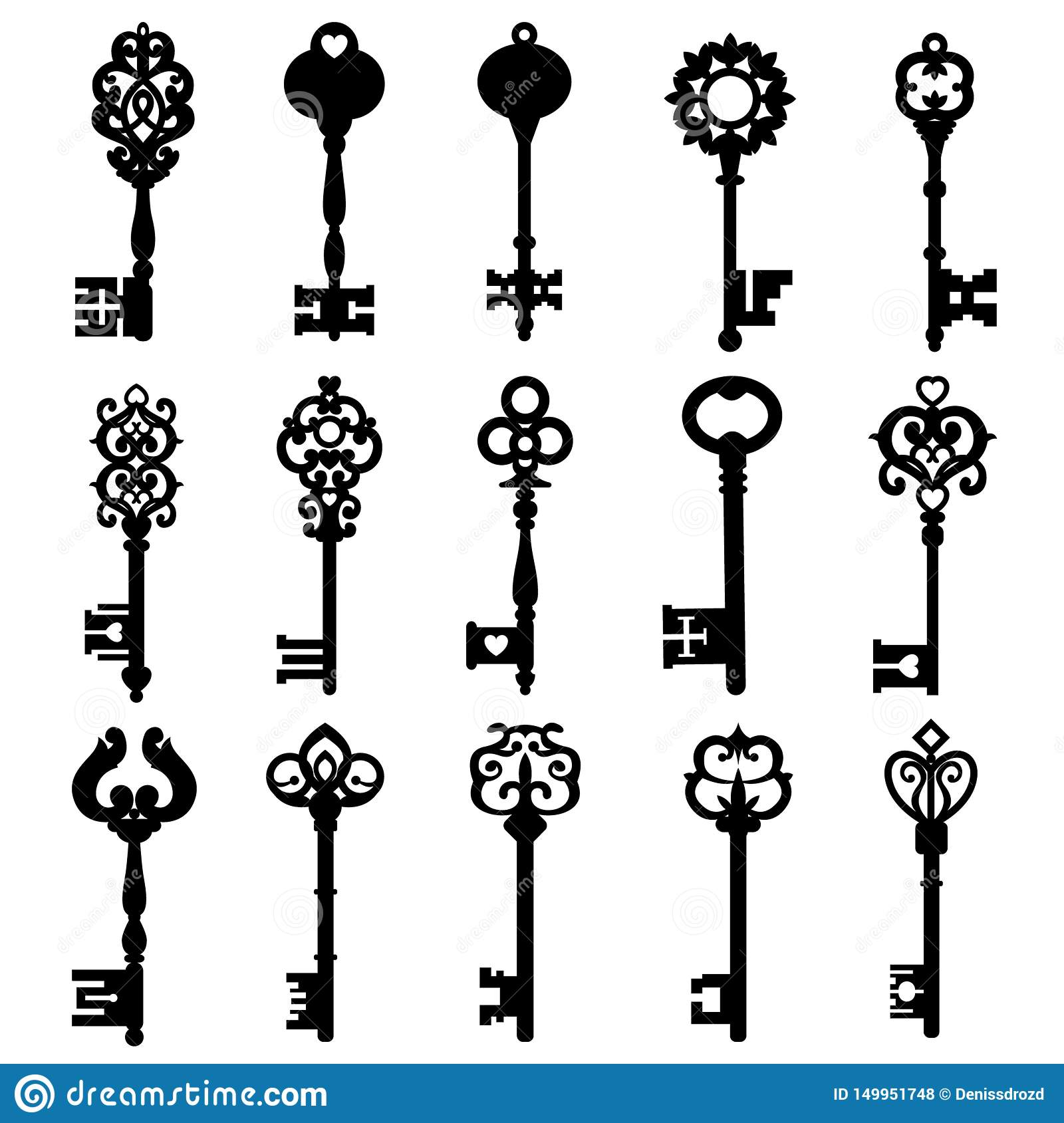 Set Of Vintage Keys Vintage Key Vector Icon Key Symbol