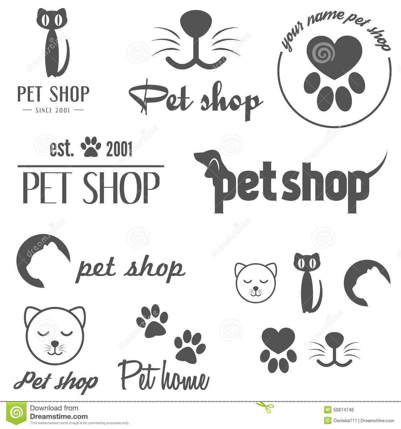 Set Of Vintage Logo And Logotype Elements For Pet Stock