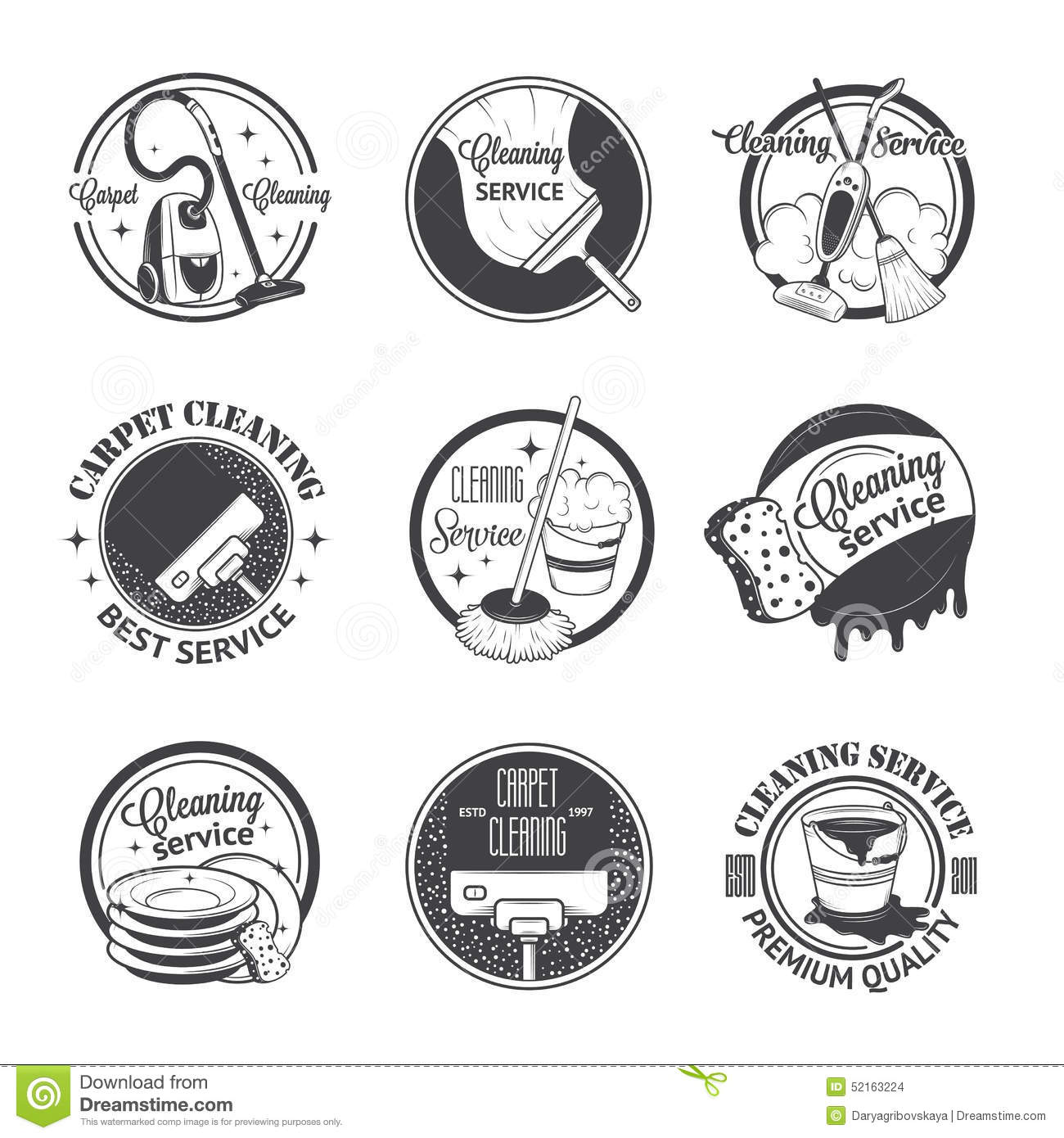 Set Of Vintage Logos Labels And Badges Cleaning Stock