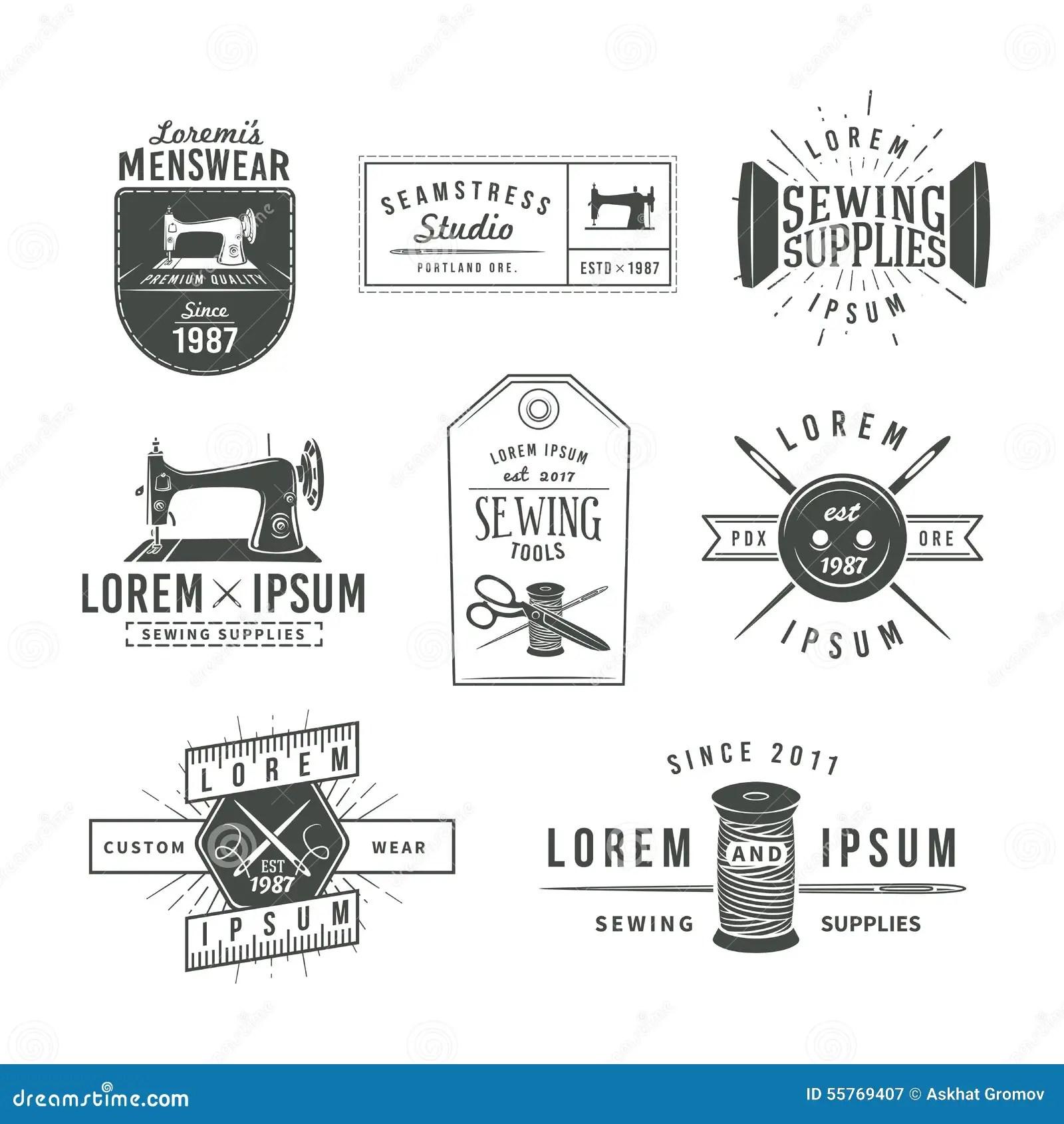 Set Of Vintage Tailor Labels, Emblems And Design Stock