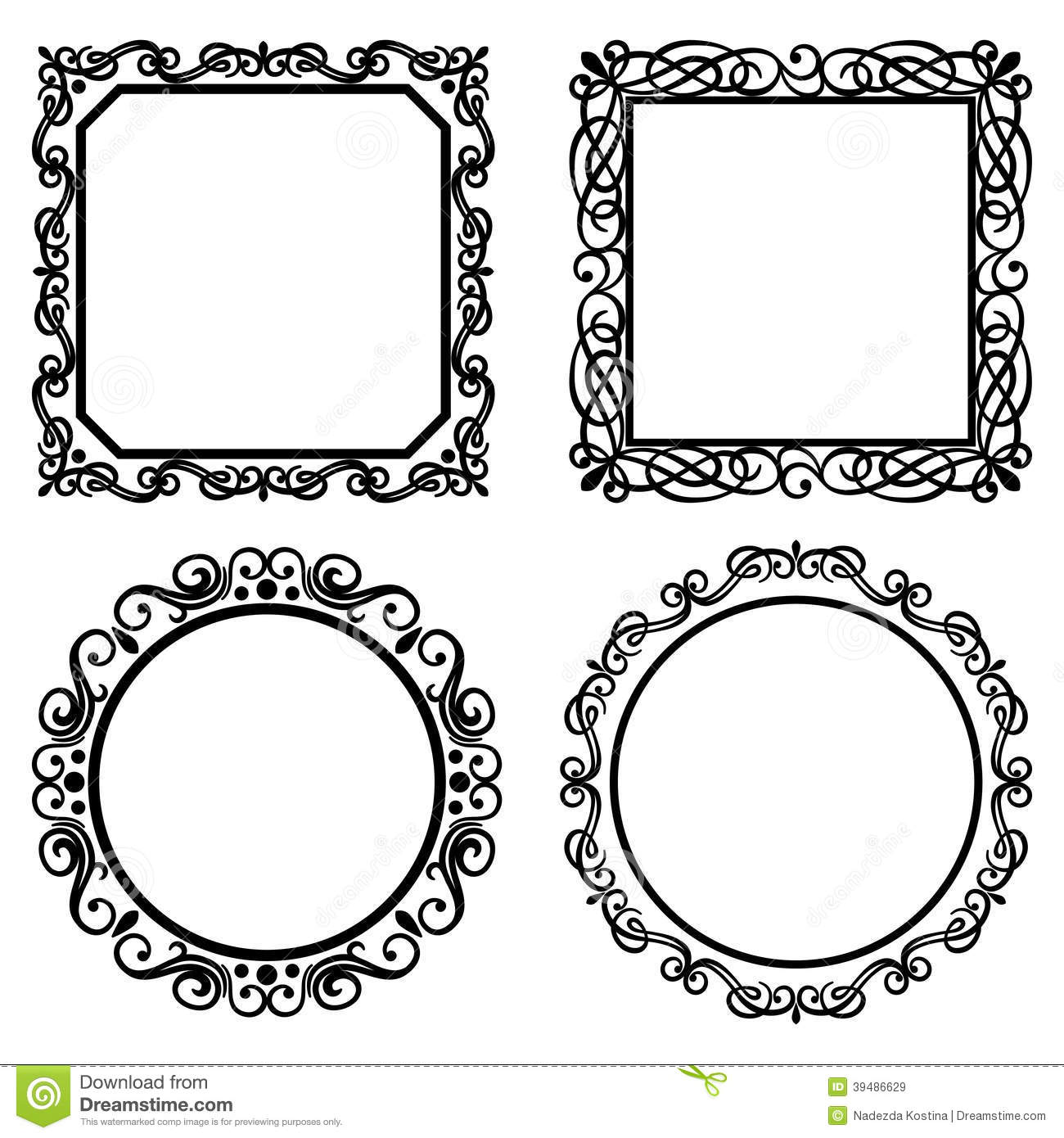 Set Of Vintage Vector Frames Borders Stock Vector