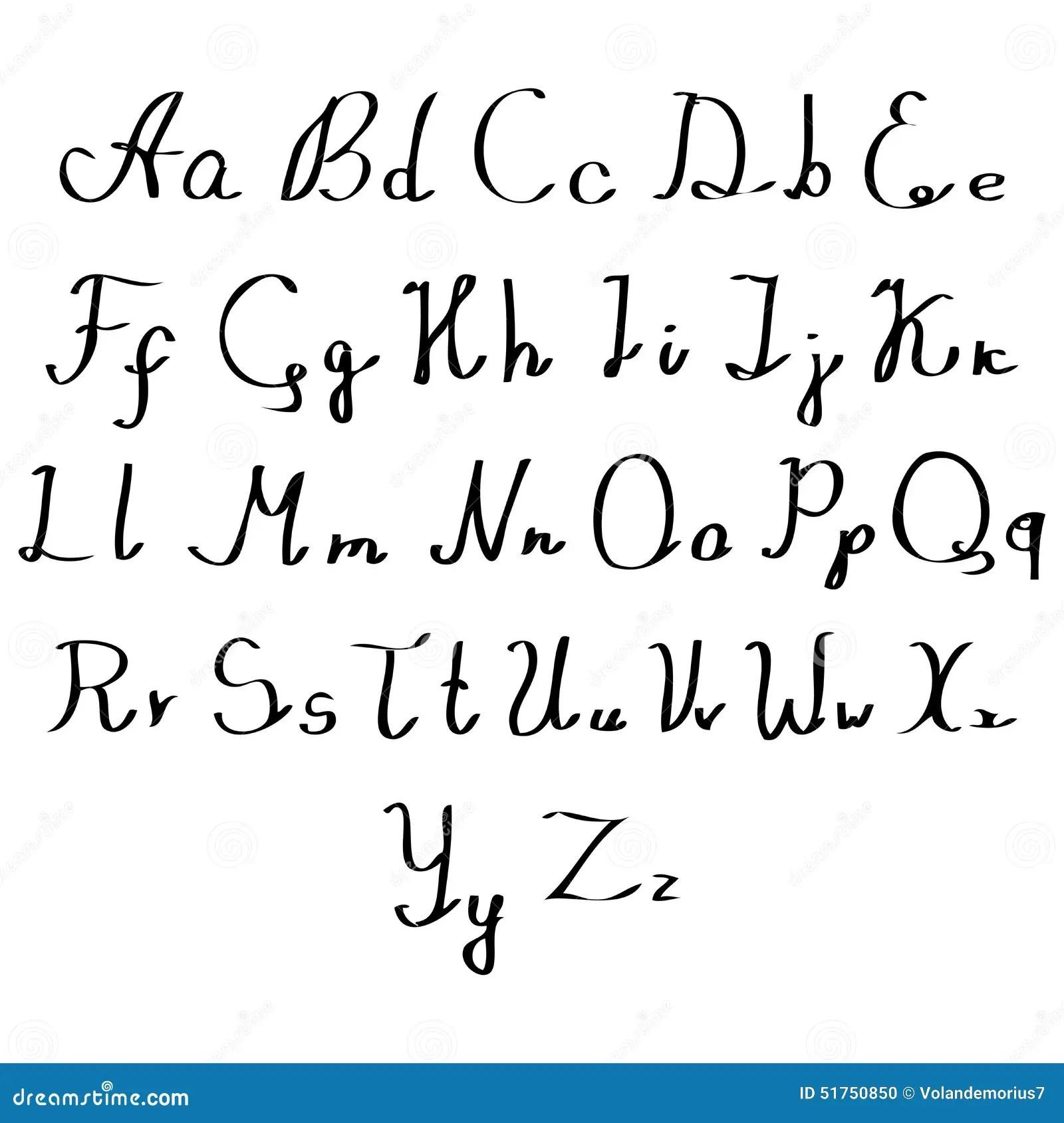 Set Of Watercolor Handwriting Font Stock Vector