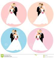 set of wedding couples stock illustration