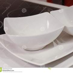 Kitchen Plates Set Carpets Of White Porcelain Dishes, Bowls And Stock ...