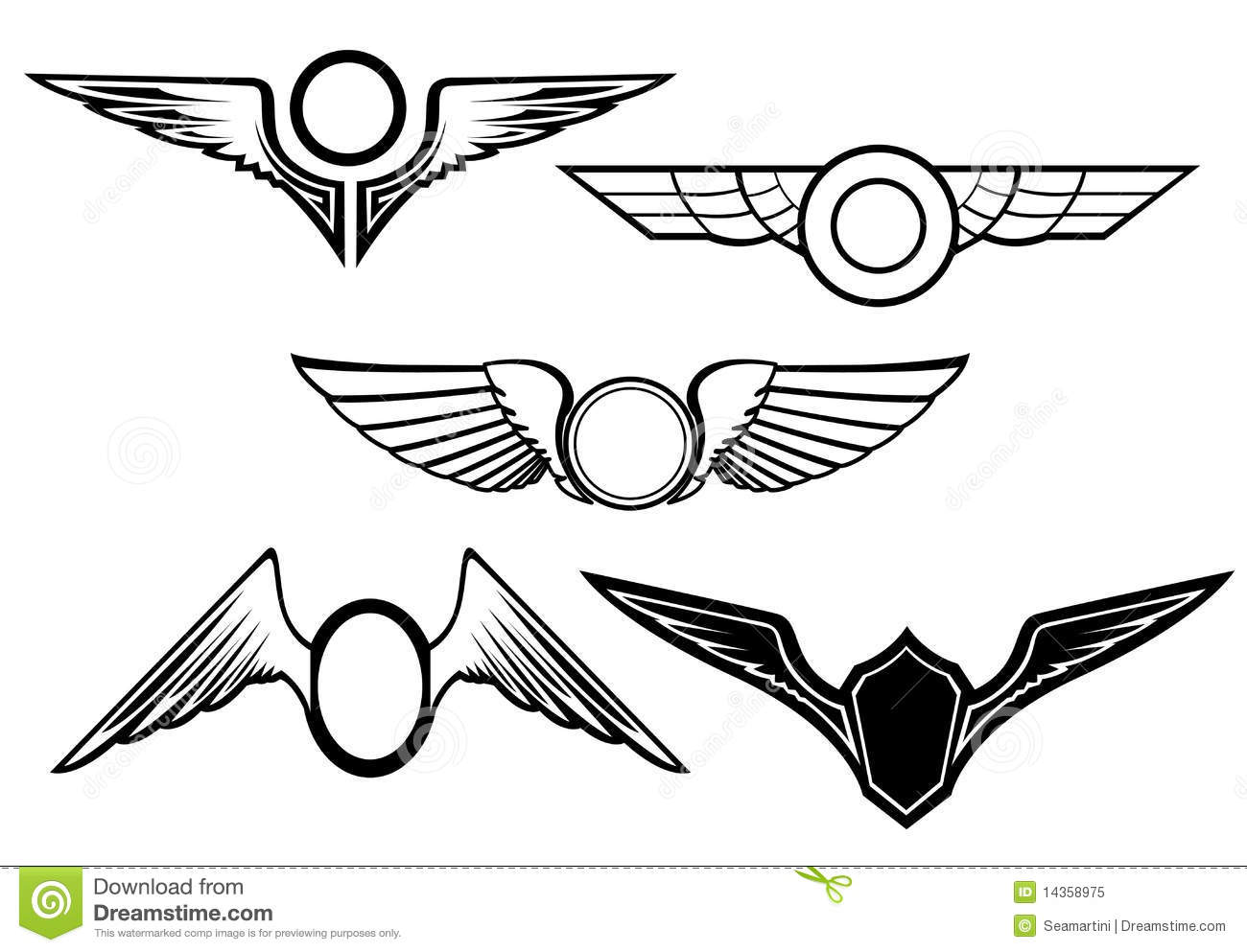 Set Of Wing Symbols Stock Vector Image Of Insignia Pair