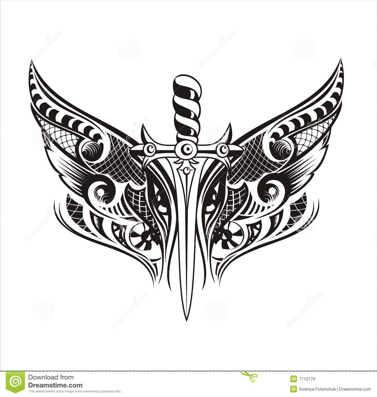 Set Wings And Swordtattoo Design Stock Vector