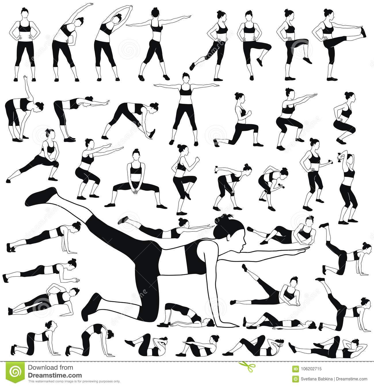 Set Of Woman Silhouettes In Different Fitness Poses. Stock