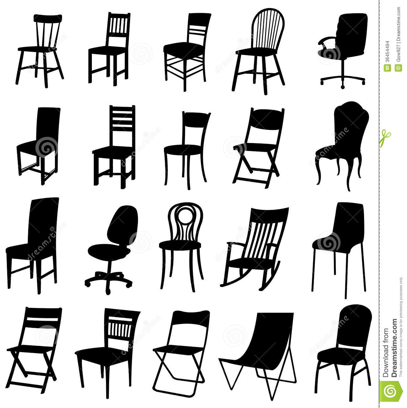 Sets Of Silhouette Chair 2 Stock Vector Illustration Of