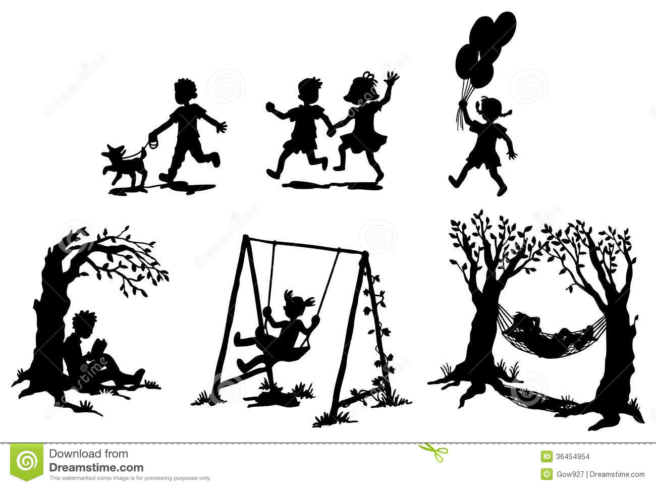 Sets Of Silhouette Children In Relaxation Vector Stock