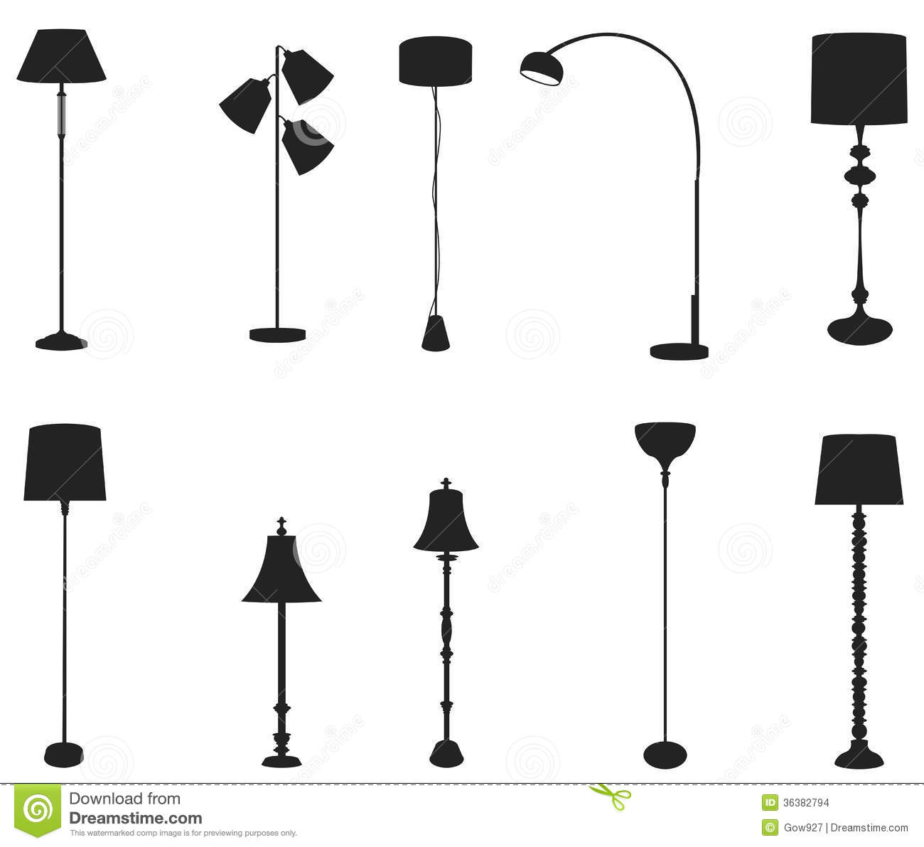 Sets Of Silhouette Floor Lamps, Create By Vector Stock