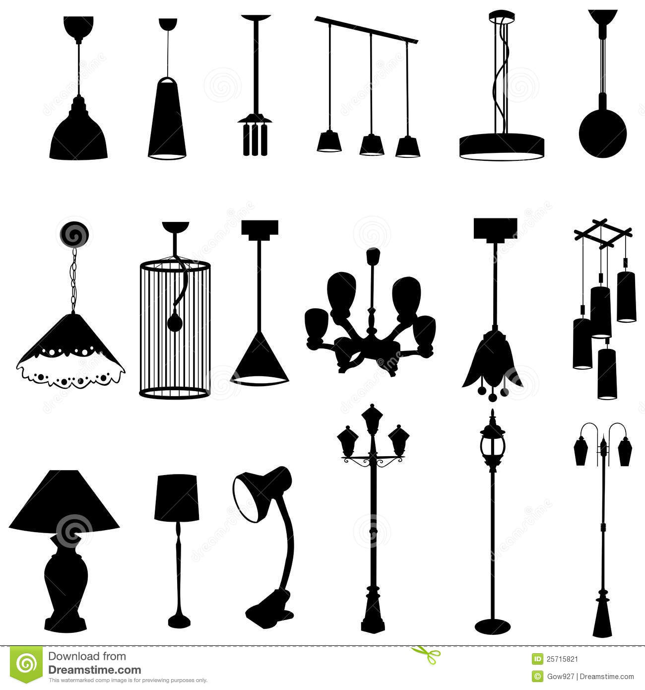 Sets Of Silhouette Lamps Stock Image
