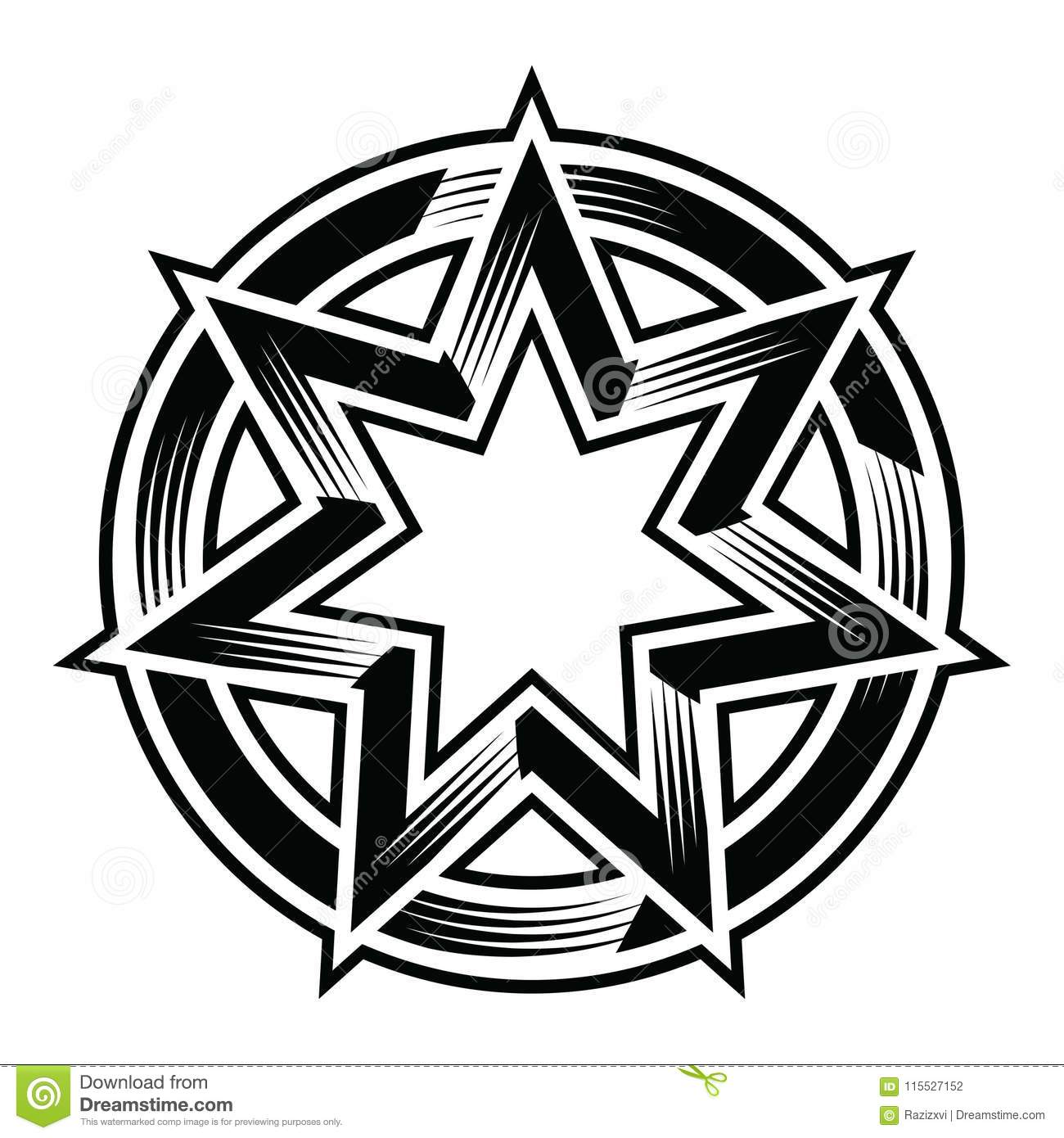 Seven Points Star And Circle Illustration Stock Vector