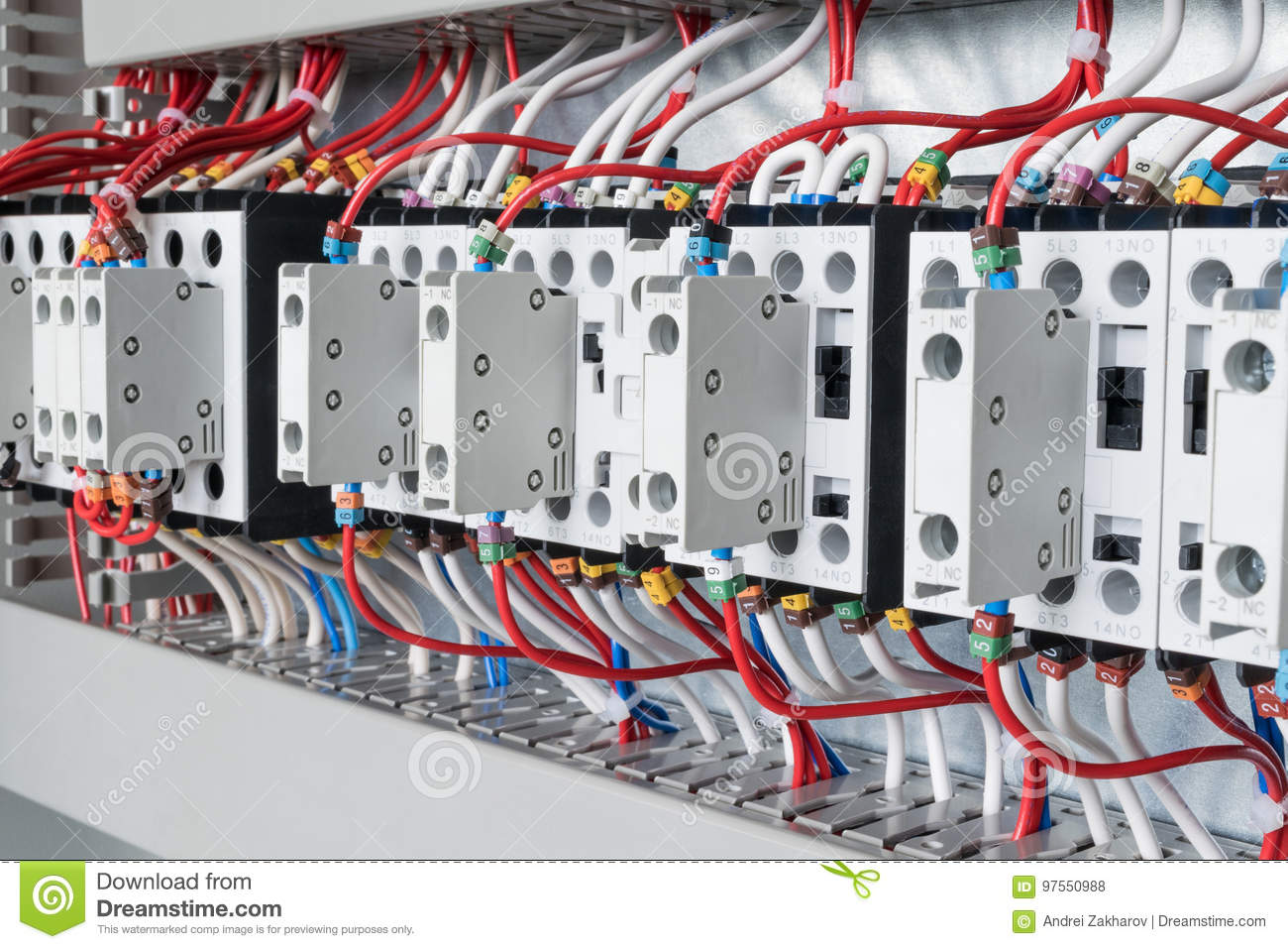 hight resolution of several contactors arranged in a row in an electrical closet