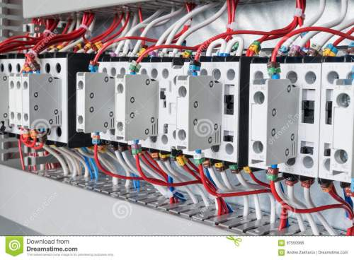 small resolution of several contactors arranged in a row in an electrical closet