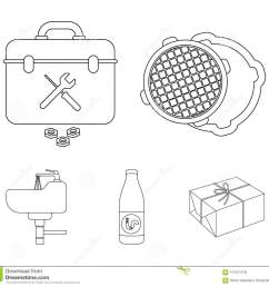 a sewer hatch a tool box a wash basin and other equipment plumbing set collection icons in outline style vector symbol stock illustration  [ 1300 x 1228 Pixel ]