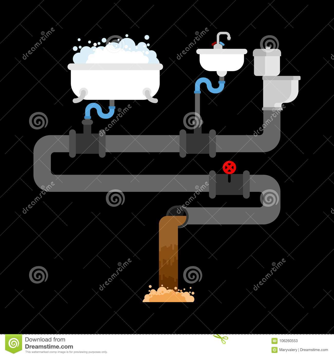 hight resolution of sewer system in house pipes and valves sink and toilet bowl b