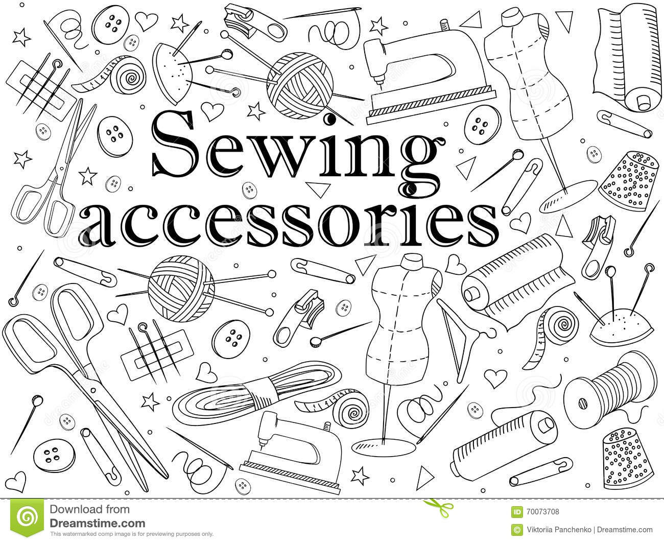 Sewing Accessories Coloring Book Vector Stock Vector