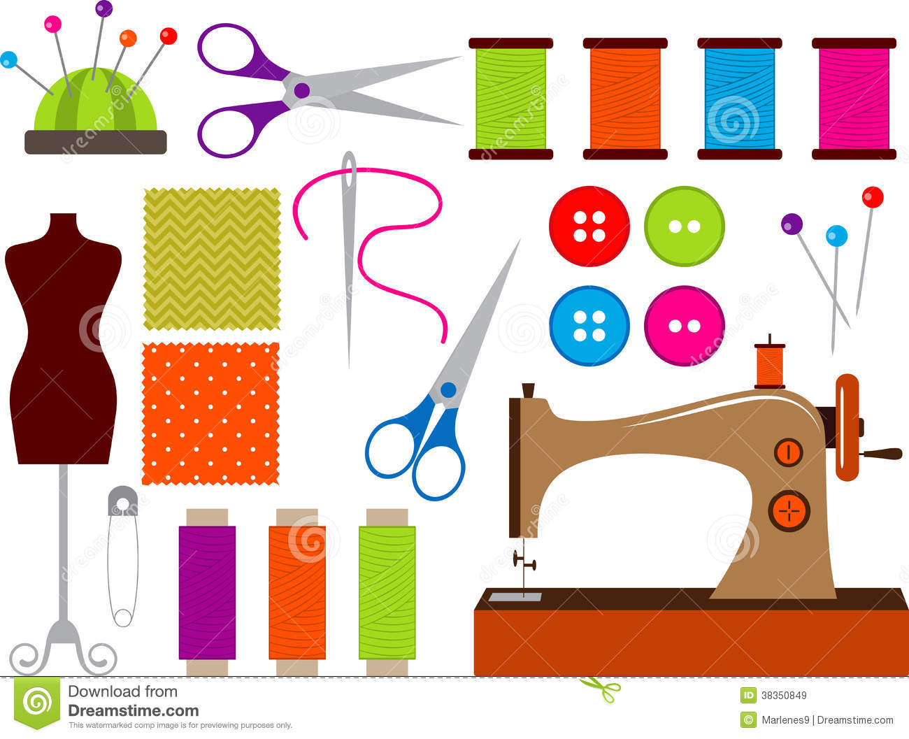 hight resolution of colorful sewing clip art set