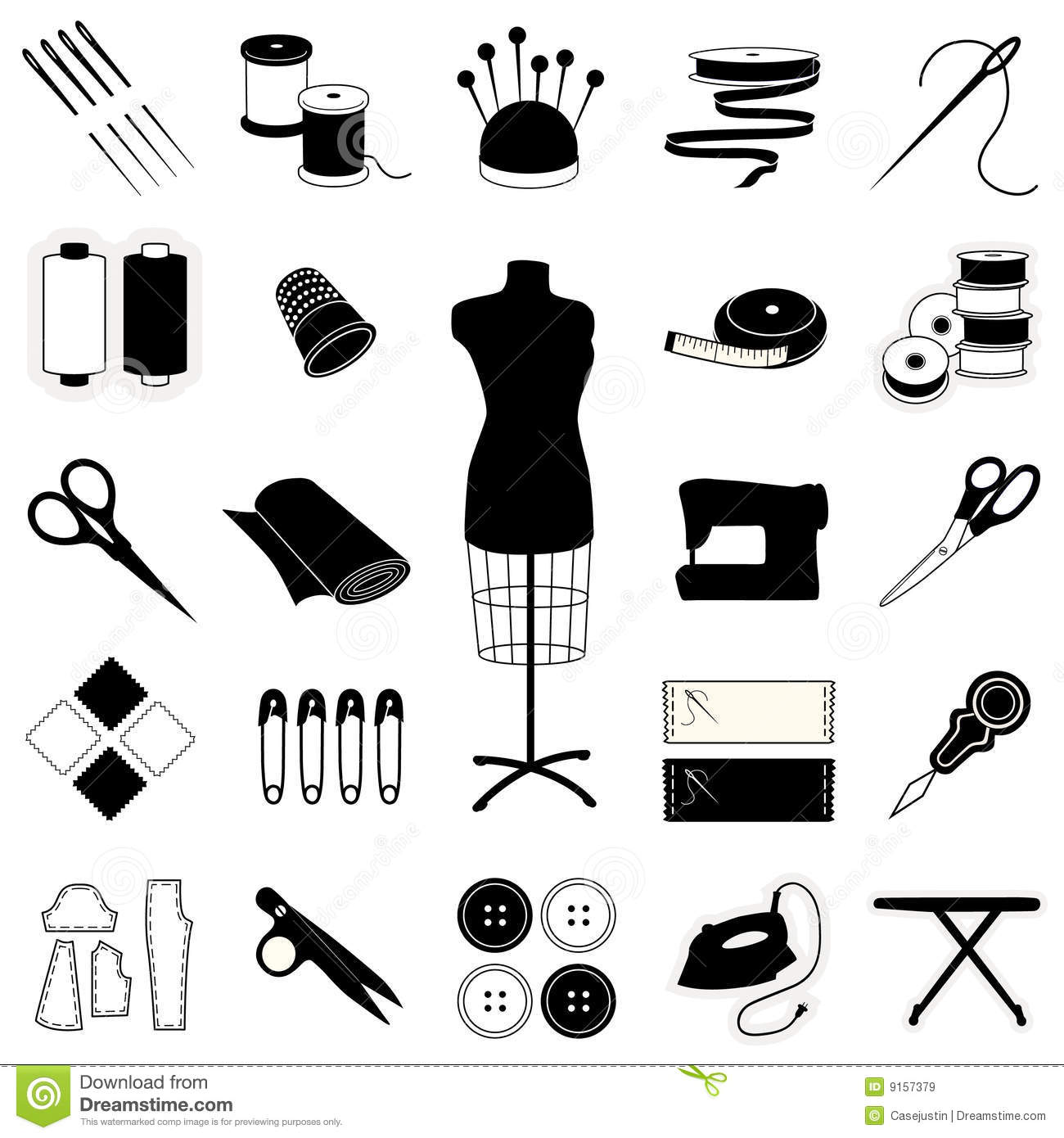 Sewing & Tailoring Icons stock vector. Image of collection