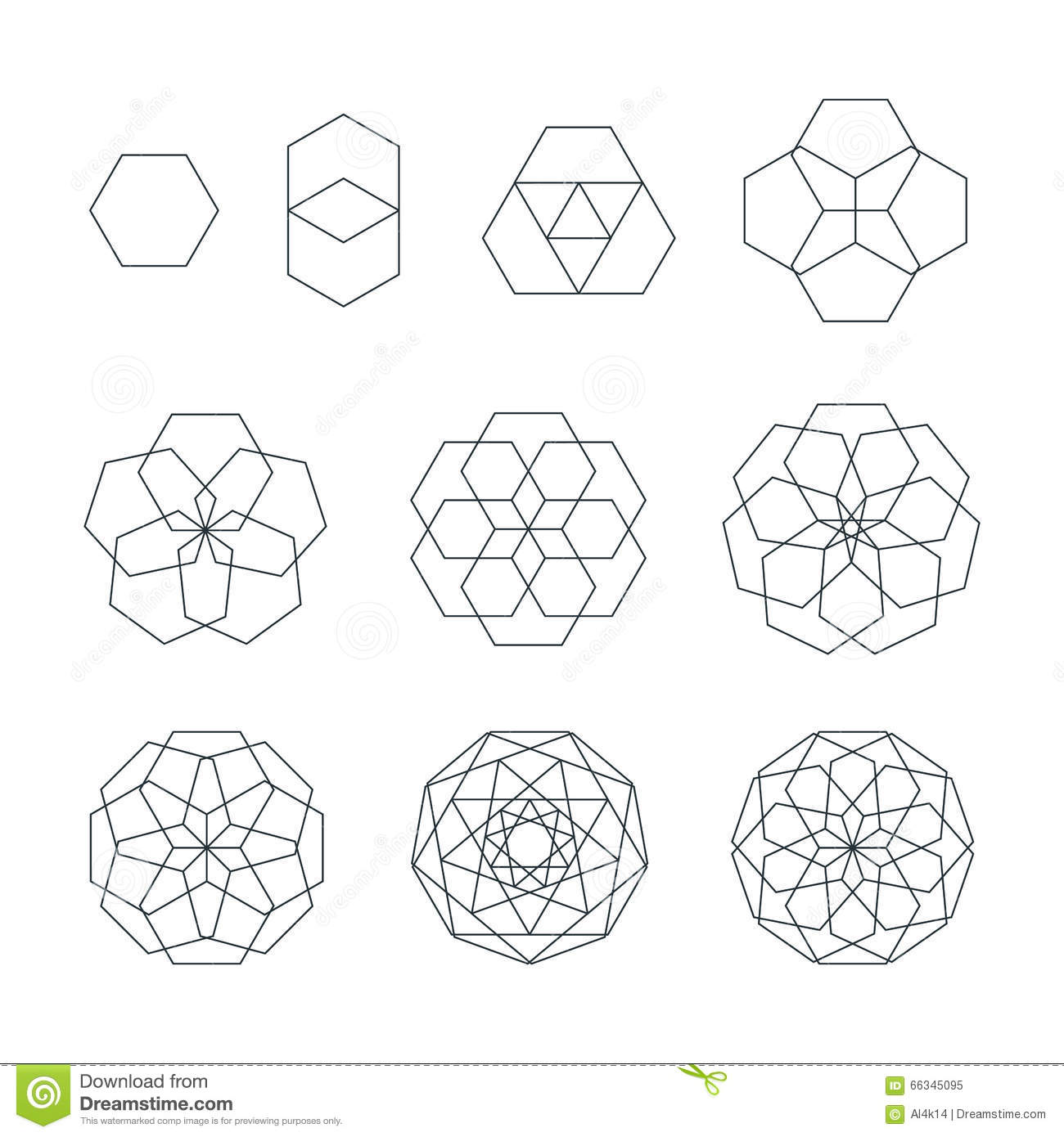 Sexangle Contour Various Sacred Geometry Set Stock Vector