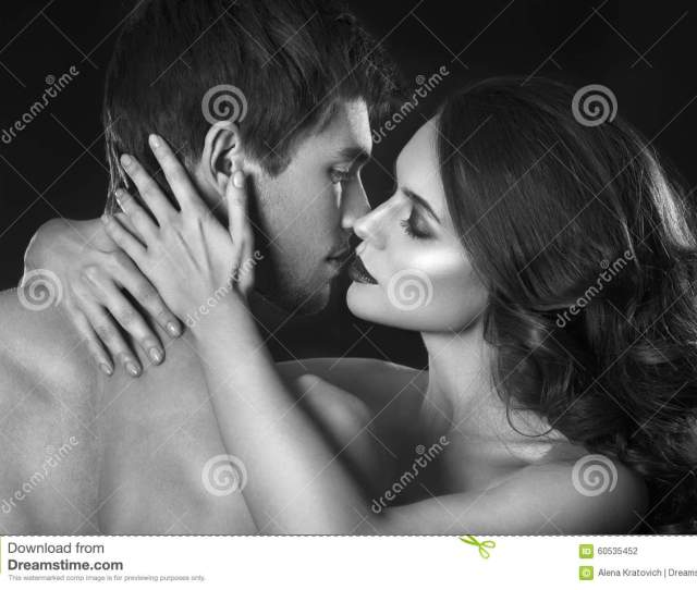 Beauty Couple Kissing Couple Portrait Sensual Brunette Woman In Underwear With Young Lover Passionate Couple Stock Photo  Megapixl