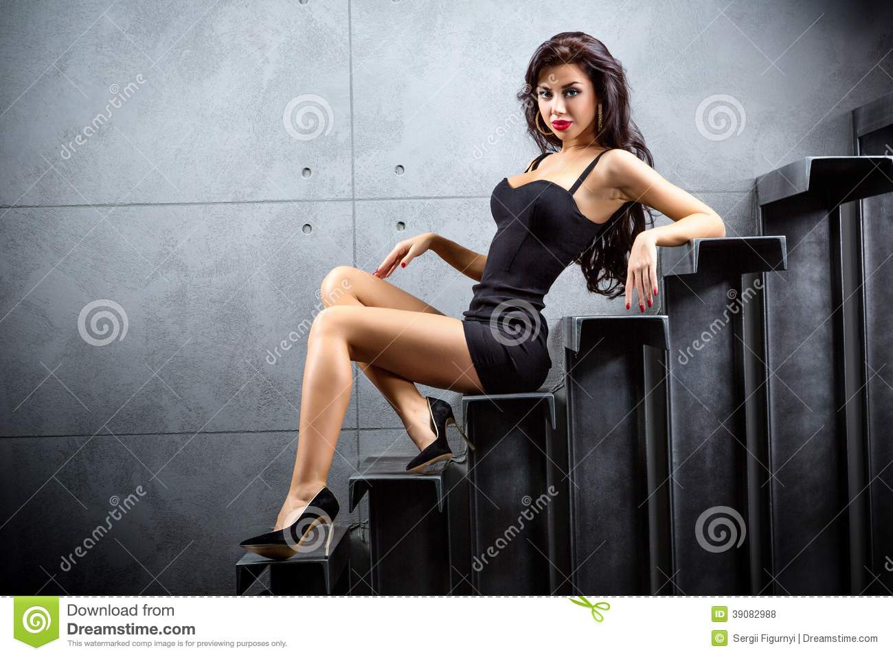 Brunette Woman Sitting On Stairs Stock Photo Image 39082988
