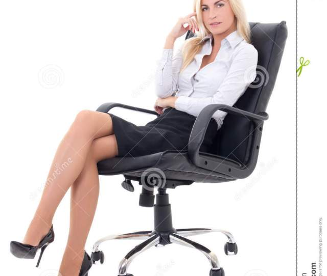 Business Woman Sitting In Office Chair Isolated On White