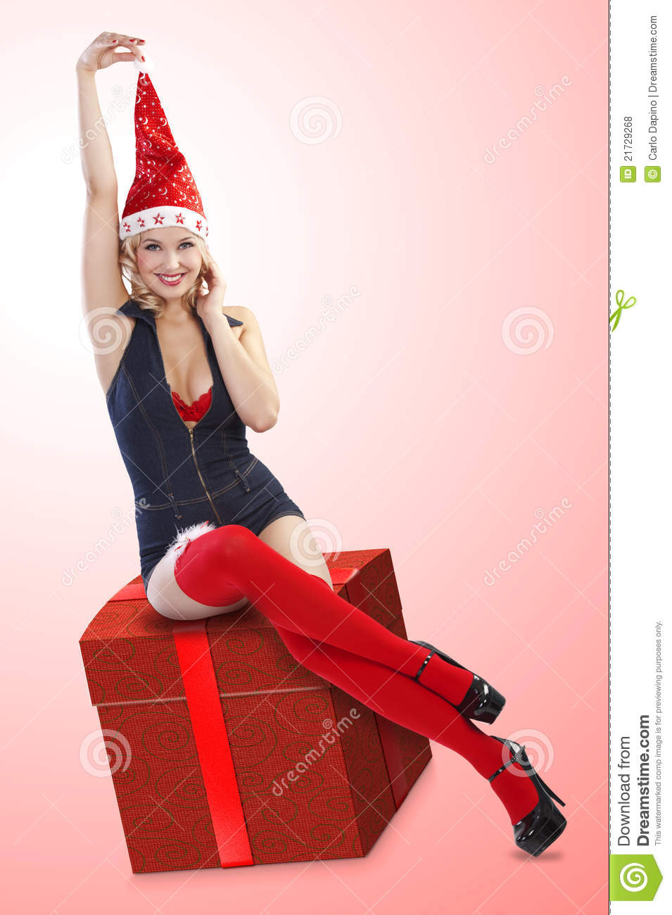 Christmas Pinup Girl Stock Photo Image Of Caucasian