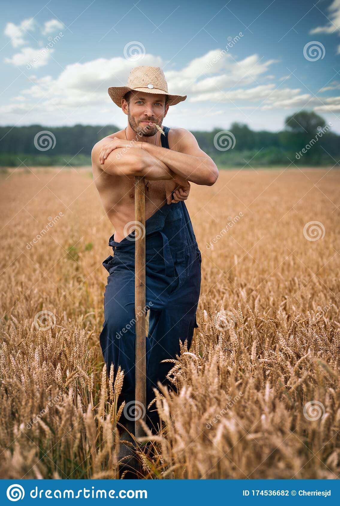 Farmer With Straw Hat Stock Photo Image Of Handsome 174536682