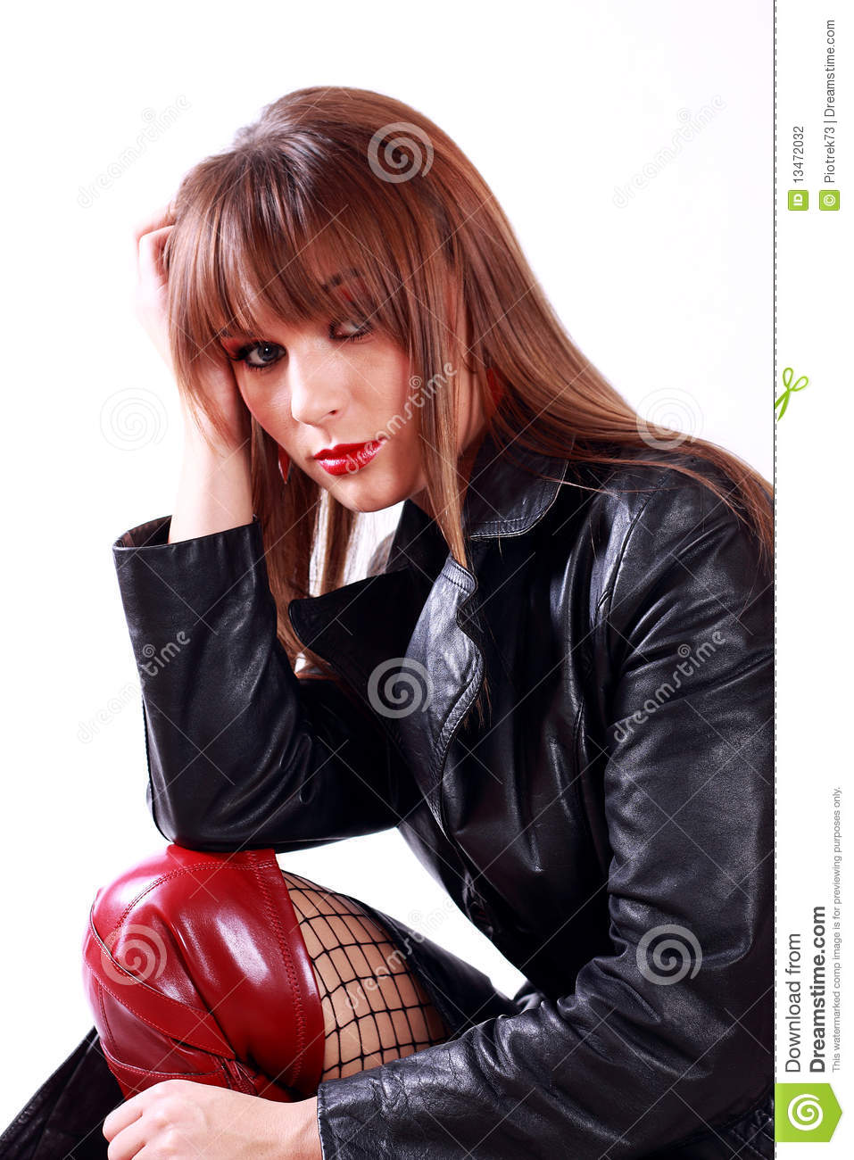 Biker Girl Wallpaper Free Download Girl In Leather Jacket Stock Photography Image 13472032