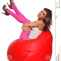 The Bean Bag Chair Equestrian Saddle Girl Sitting In Stock Photography - Image: 10944362