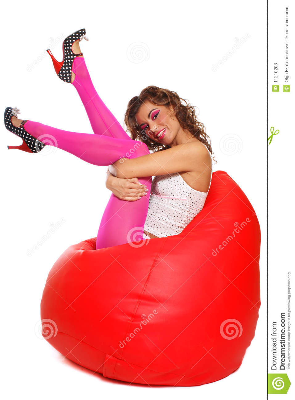 Girl sitting in bean bag stock photo Image of allure