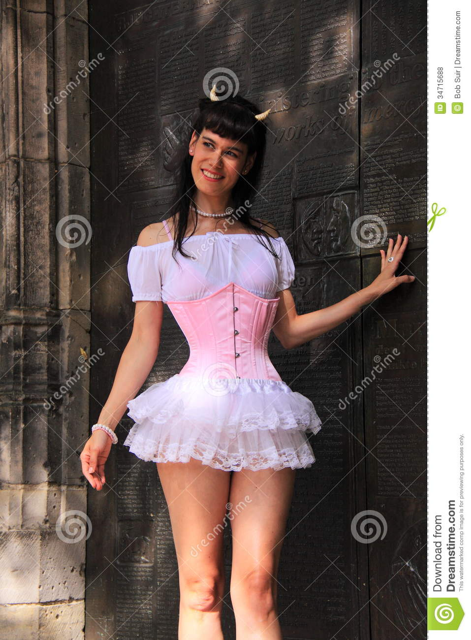 Girl Street Fashion Pink Corset Editorial Stock Photo