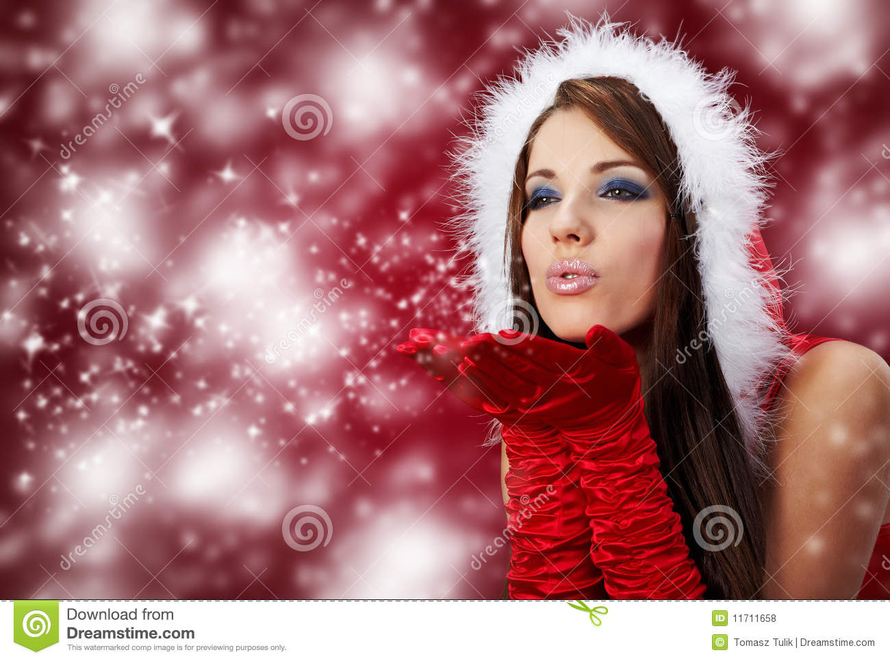Cute Girly Wallpaper Free Download Girl Wearing Santa Claus Clothes On R Royalty Free Stock