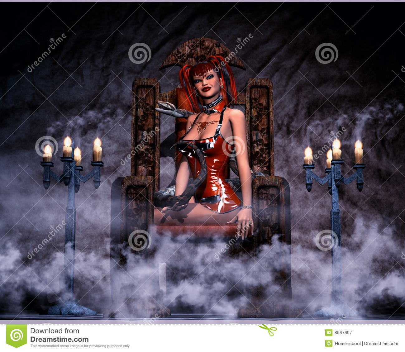 chair design styles outdoor wood sexy gothic woman with snake royalty free stock photography - image: 8667697