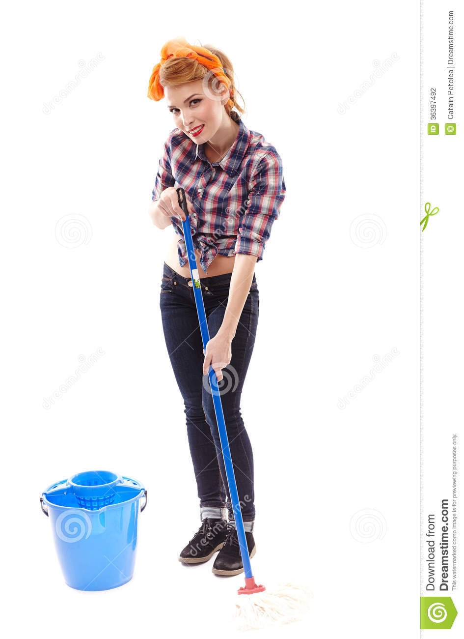 Sexy Housewife Washing The Floor With A Mop Stock Photography  Image 36397492