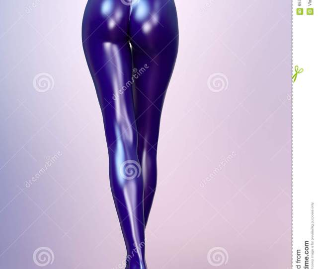 Slim Female Legs In Blue Latex Pantyhose