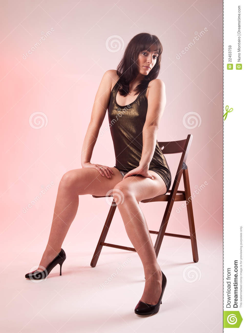 modern wood chair plans french brasserie chairs woman seated on wooden royalty free stock images - image: 22453759