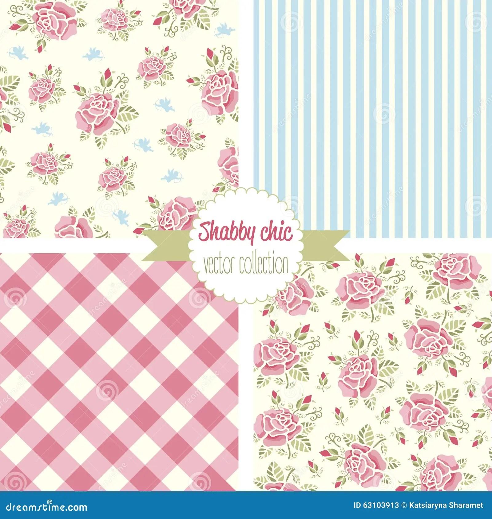 Shabby Chic Rose Patterns. Set Seamless Pattern. Vintage