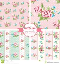 Shabby Chic Rose Patterns. Set Seamless Pattern. Vintage