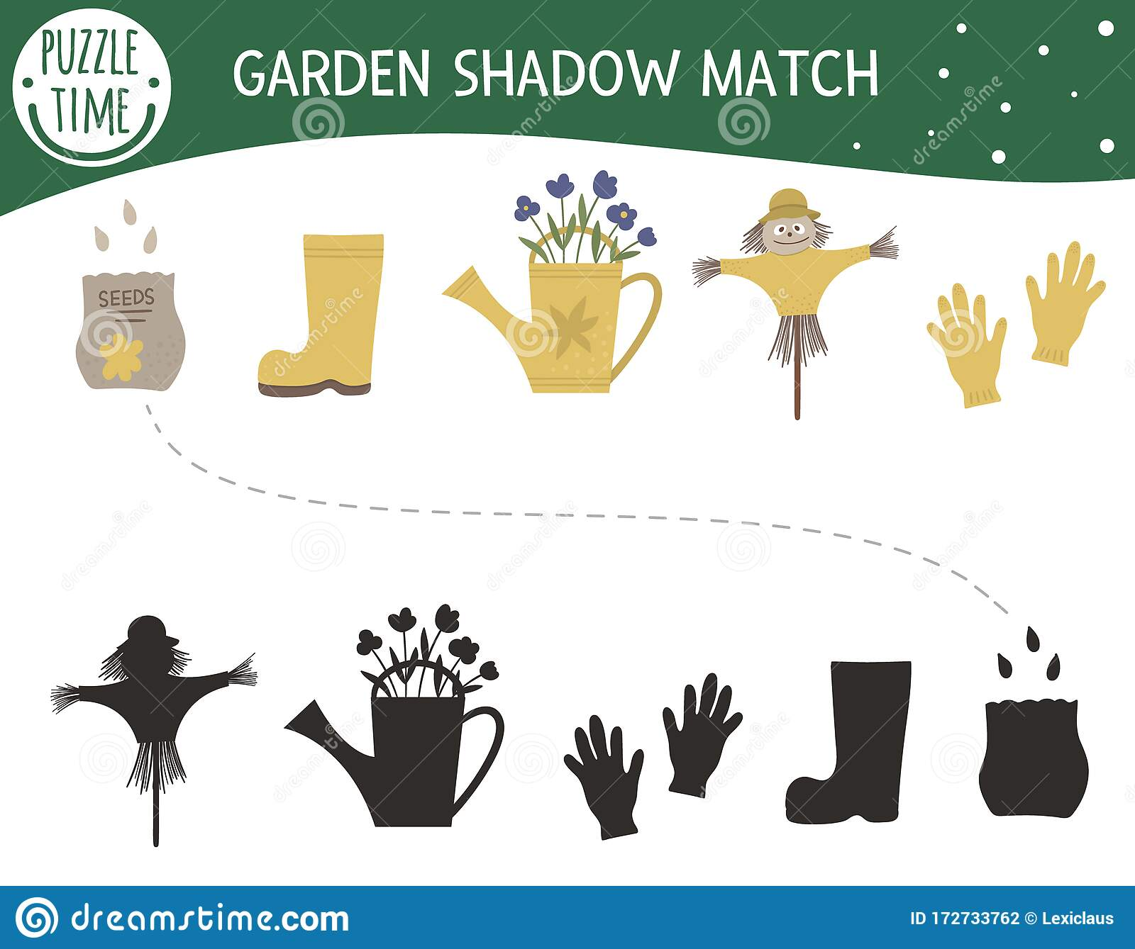 Shadow Matching Activity For Children With Garden Symbols
