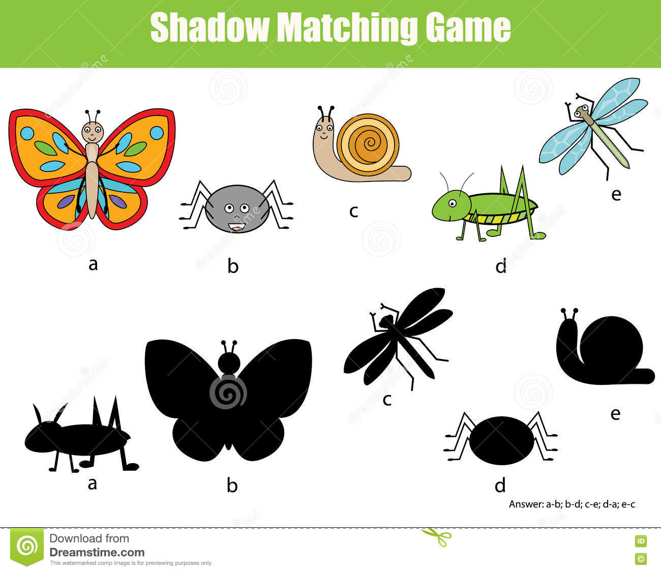 Shadow Matching Children Educational Game Stock Vector