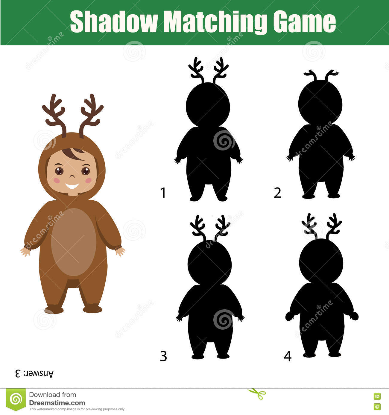 Shadow Matching Game Christmas Theme Kids Activity Worksheet Stock Vector