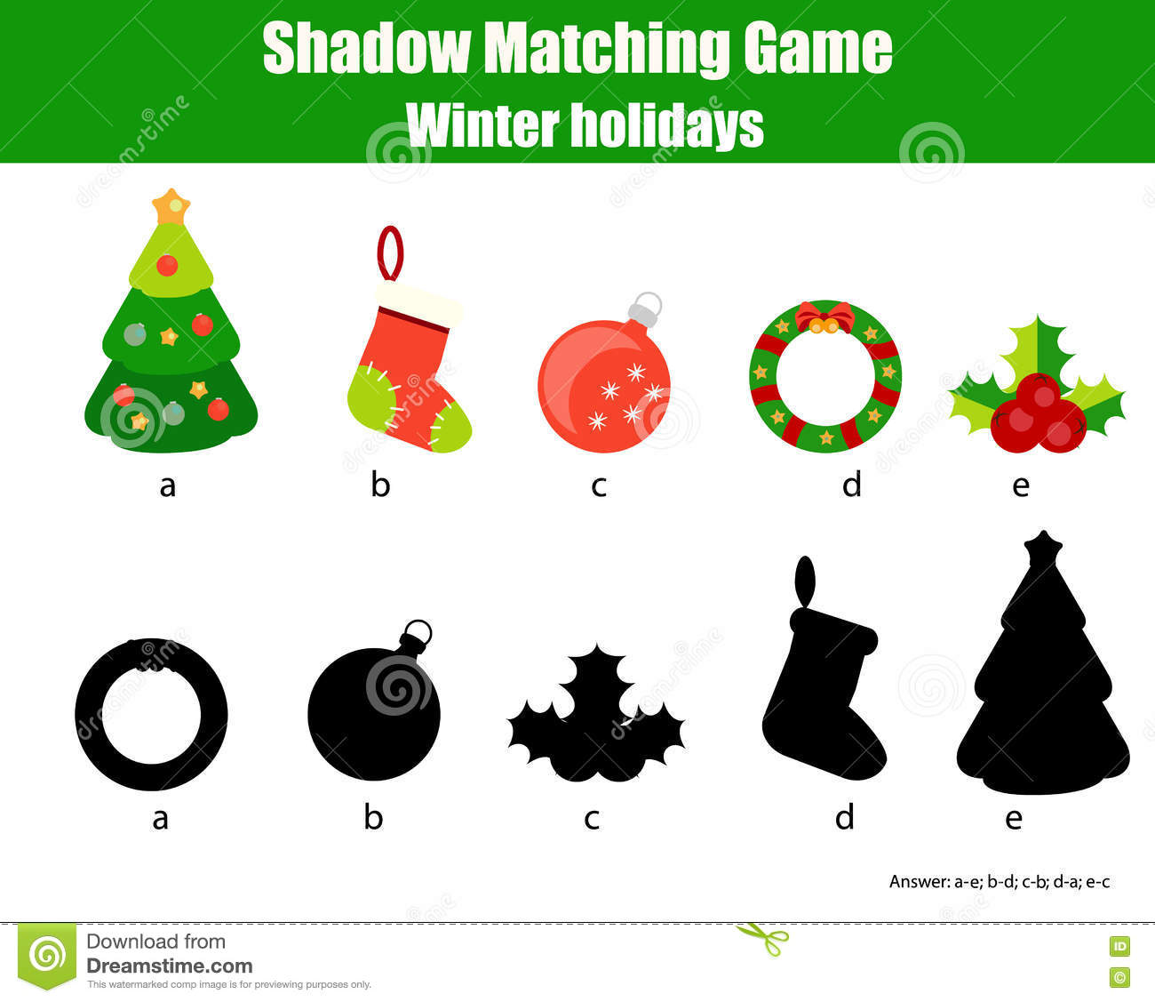 Shadow Matching Game Christmas Winter Holidays Theme Kids Activity Worksheet Stock