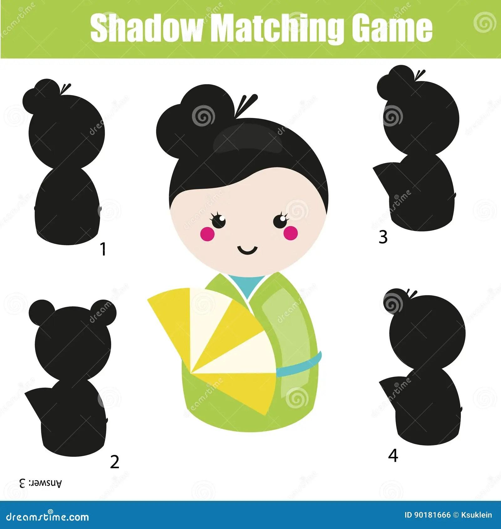 Shadow Matching Children Educational Game Kids Activity Sheet Cartoon Vector