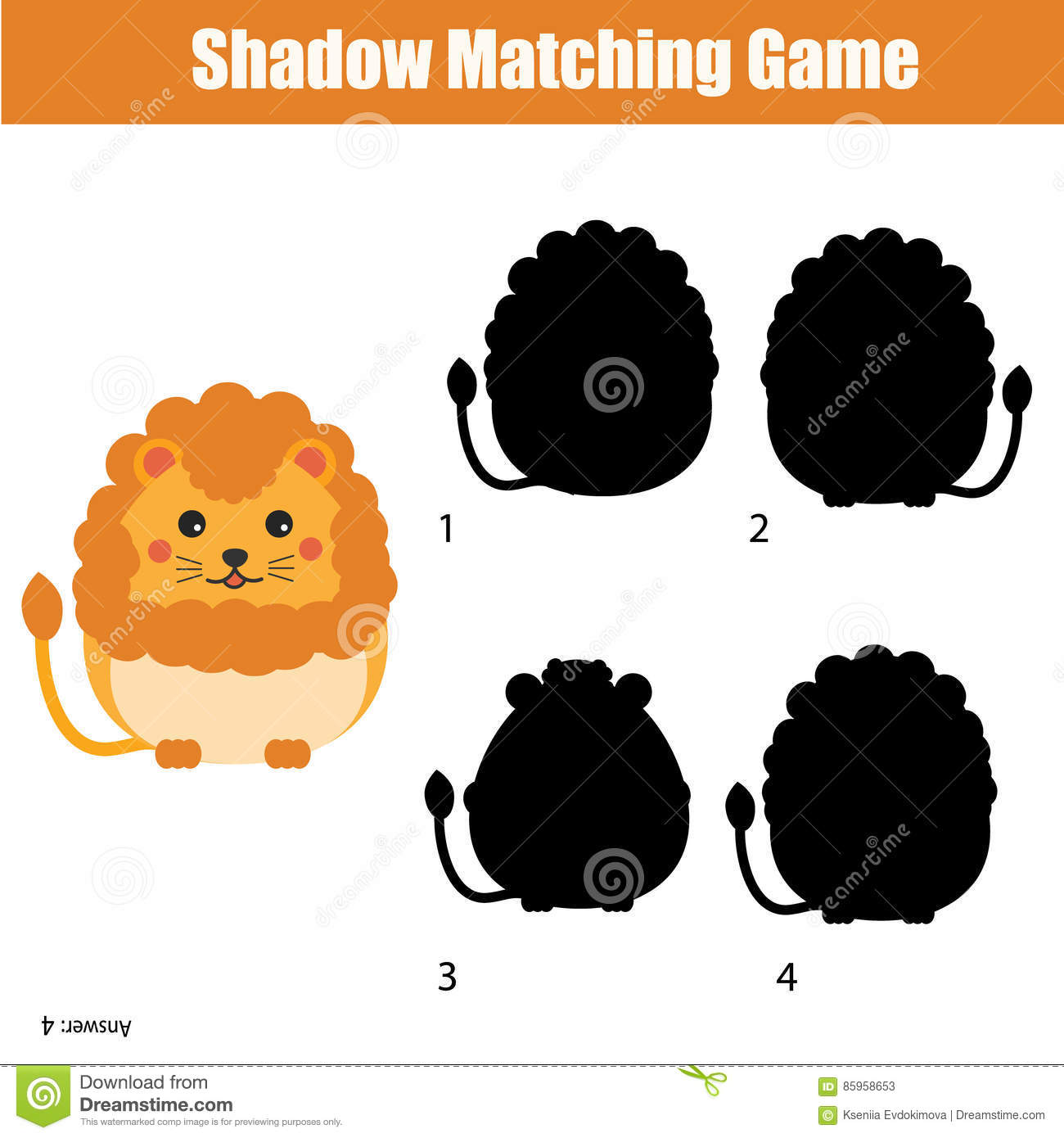Shadow Matching Game Find The Correct Silhouette For Cute