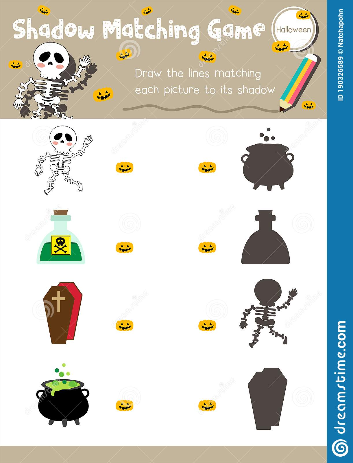 Shadow Matching Game Halloween Activity Worksheet Stock