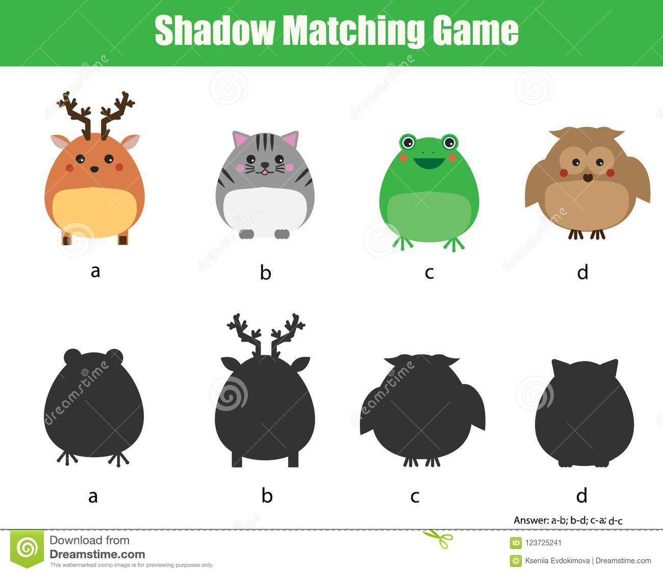 Shadow Matching Game Kids Activity With Cute Animals
