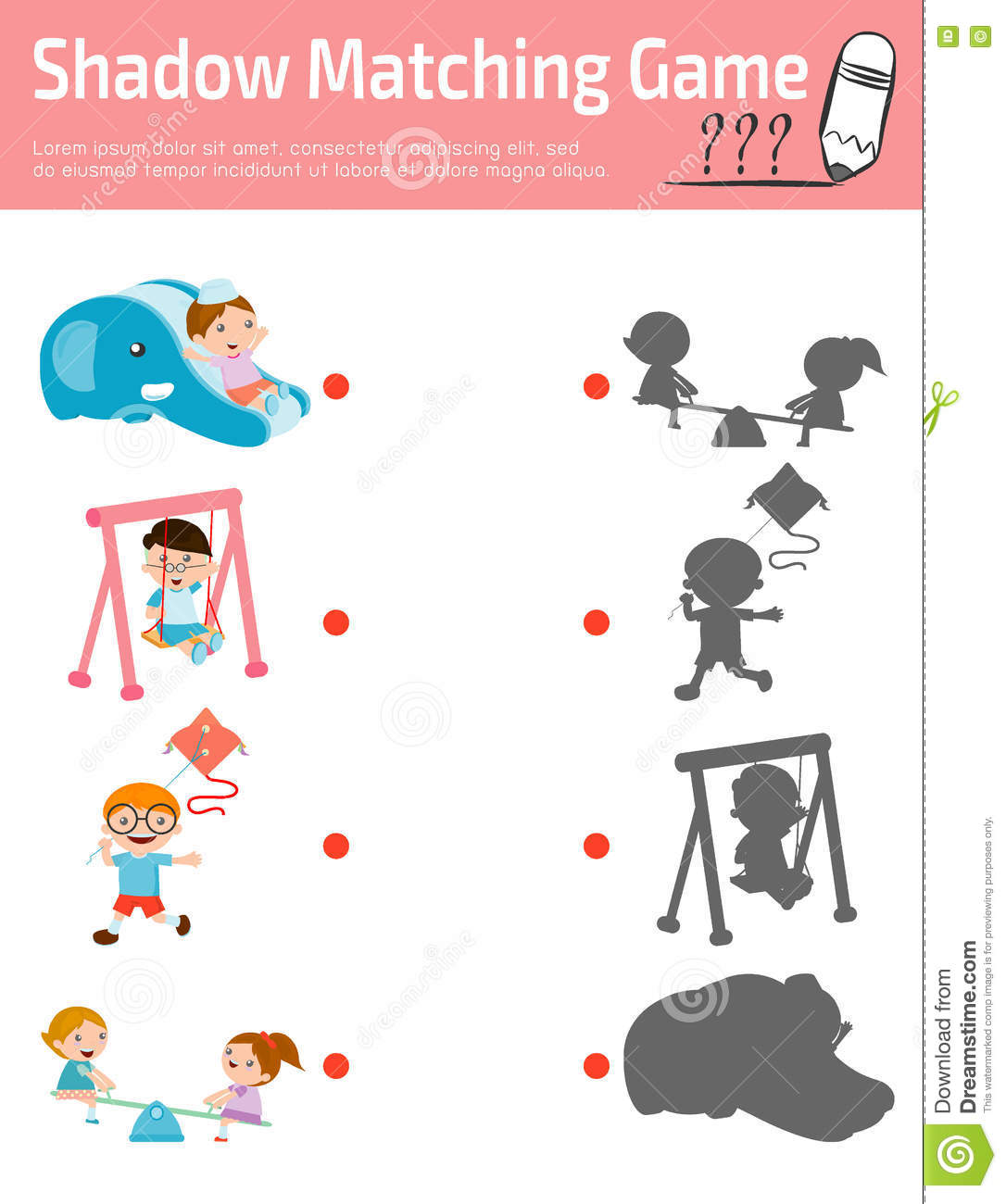 Shadow Matching Game For Kids Education Vector